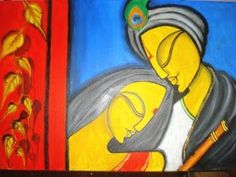 The vivid shades of background and calm faces of Radha and Krishna symbolize the pristine love.