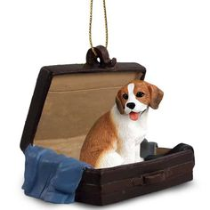 Hand Painted Beagle Figurine Traveling Companion Crafted in a Suitcase Ornament