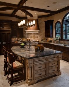 Mediterranean Kitchen features copper hood and large island with glazed cabinets Kitchen ItalianteTuscan Tuscan Mediterranean by Alison Whittaker Design Brown Kitchens, Cool Kitchens, Home Decor Kitchen, Rustic Kitchen, Kitchen Ideas, Kitchen Layout, Küchen Design, House Design, Design Ideas