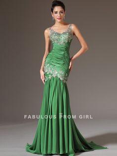 Trumpet / Mermaid V-neck  Applique  Sleeveless Floor-length Elastic Woven Satin Prom Dresses / Evening Dresses