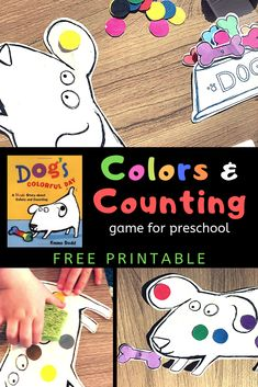 Teach preschoolers and toddlers colors, numbers, counting, and sportsmanship with this fun free printable file-folder game. Play along with the book Dog's Colorful Day by Emma Dodd. Preschool Board Games, Preschool Learning Activities, Preschool Books, Free Preschool, Book Activities, Preschool Printables, Free Printables, File Folder Activities, File Folder Games