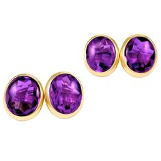 Antique Amethyst Gold Cufflinks | From a unique collection of vintage cufflinks at https://www.1stdibs.com/jewelry/cufflinks/cufflinks/