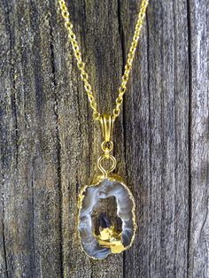 Gold Plated Quartz Agate with Amethyst by JewelryByKrystle on Etsy, $28.00