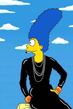 Marge as Coco Chanel | Marge Simpson Models The Most Iconic Fashion Poses Of All Time