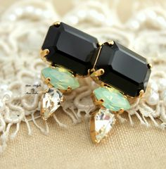 Black Mint Geometric Rhinestone stud earrings classic jewelry - 14k Gold plated Swarovski earrings.