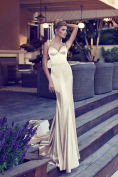 Sheath Column White Pink Court Train Open Back Spaghetti Straps Backless Satin Sleeveless Wedding Dress