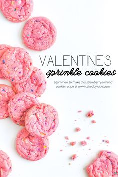 A soft and chewy cookie recipe with bright flavours of strawberry almond with white chocolate chips. This is an easy to make, but decadent homemade cookie that is perfect for Valentine's Day, Baby Showers, or simply an after school snack. Enjoy these Pink Cookies with your family. Pink Cookies, Sprinkle Cookies, Drop Cookies, Yummy Cookies, Strawberry Cookie Recipe, Strawberry Vanilla Cake, White Chocolate Chips, Chocolate Chip Cookies, Almond Meal Cookies