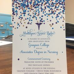 Congrats to Matti who's about to receive these super cute confetti nursing school graduation announcements from Papel! #whatcanpapelmakeforyoutoday #nurse #collegegradannouncements #2016grad