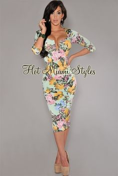 Mint Multi-Color Floral Midi Padded Dress OWN IT