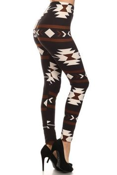 Brown and black tribal leggings. One size fits most ( Super soft and… Funky Leggings, Tribal Leggings, Black Leggings, High Waisted Black Trousers, Wholesale Fashion, Leggings Fashion, Dress Me Up, Autumn Fashion, My Style