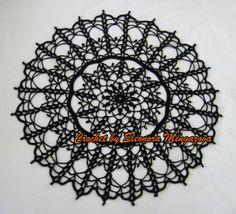 Hand crochet Halloween Spider Web gothic Doily 19.5 by MingazovArt, $25.00