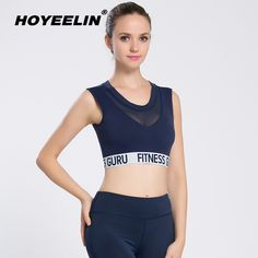 37476e4099 HOYEELIN Sports Bra Women s Quick Drying Breathable Gym Vest Tops Shirts  For Fitness Padded Stretch Running