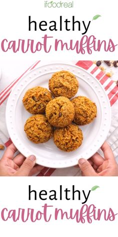 Healthy Carrot Muffins with applesauce, oatmeal or oat bran, whole wheat flour and honey. Your family will love them! Healthy Carrot Muffins, Healthy Muffin Recipes, Healthy Food, Healthy Eating, Baking Packaging, Healthy Family Meals, Food Website, School Lunch, Eating Well