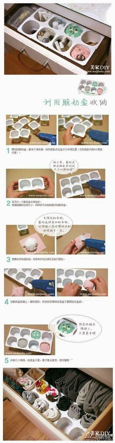 para inspirarte DIY Yogurt Cup Organizer DIY Yogurt Cup Organizer- can't understand the instructions to this one, but I like it!DIY Yogurt Cup Organizer DIY Yogurt Cup Organizer- can't understand the instructions to this one, but I like it! Diy Storage Boxes, Drawer Storage, Storage Ideas, Drawer Dividers, Junk Drawer, Diy Rangement, Ideas Prácticas, Decor Ideas, Craft Ideas