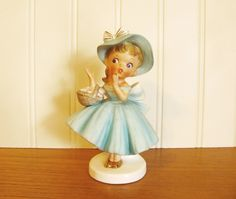Vintage Inarco Girl With Basket Figurine Original Tag Inarco Girl Figurine Inarco E-4712 Girl In Blue Dress and Gold Shoes Inarco Figurine by HipCatRetroVintage on Etsy