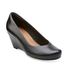 Bassett Mine Black Leather - Clarks Womens Shoes - Womens Heels and Flats -  Clarks - 2a695a050be9