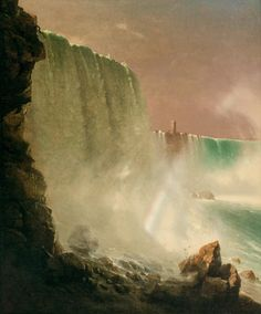 """Lot - JOHN FERGUSON WEIR, American (1841-1926), Niagara Falls, oil on canvas, signed lower left """"J.F. Weir"""", 30 x 25 inches Journey's End, Hudson River School, Lighthouse Pictures, Aesthetic Movement, Fine Art Auctions, Natural Wonders, American Artists, Continents, Niagara Falls"""