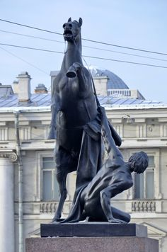 One of the four horse statues on Anichkov Bridge in St Petersburg, Russia