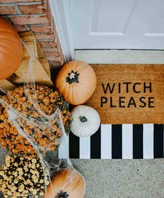 DIY Halloween Door Mat + Front Porch Who loves a door mat? The… DIY Halloween Door Mat + Front Porch Who loves a door mat? These DIY Halloween Door Mats were so fun, easy, and inexpensive to make,… Continue Reading → Diy Halloween Baby, Modern Halloween Decor, Fall Halloween, Halloween Crafts, Hallowen Party, Halloween Ghosts, Halloween Housewarming Party, Halloween Sounds, Autumn Home