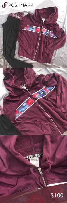 VS PINK TROPICAL 🌴 MAROON FULL ZIP Size large lightly used fantastic and beautiful condition! HIGH PRICE FOR OFFERS 😍 PINK Victoria's Secret Tops Sweatshirts & Hoodies