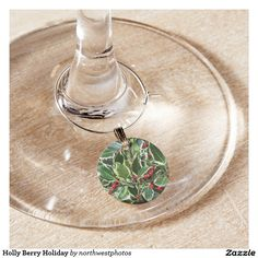 Holly Berry Holiday Wine Charm