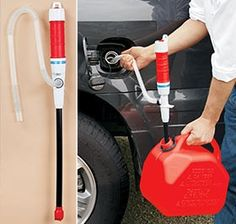 Siphon. Something essential to have when you have gas in your car but none for your generator.