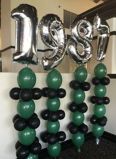 High School Reunion Ideas! Graduation Ideas! Link Balloon Designs! Milar Balloon Designs! Green, Black, and Silver Party!