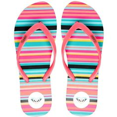 Roxy Papeete Pink Stripe Flip Flops (77 RON) ❤ liked on Polyvore featuring shoes, sandals, flip flops, sapatos, toe thongs, striped shoes, roxy flip flops, pink shoes and roxy sandals