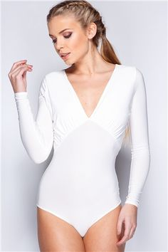 Tracey White Ruched V Front Bodysuit at misspap.co.uk