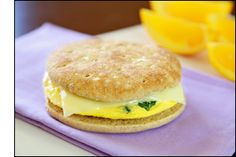 Fast Protein-Packed Breakfast Sandwich:  This hearty sandwich will start your day off in a healthy way.  I love it because it is all done in the microwave!  Make sure your bun is whole wheat.  I use a Thomas 100% whole wheat English muffin or  a whole wheat bagel thin.