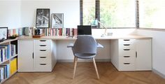 Idea about Home Office Table : Use Ikea VIKA ALEX units (two with drawers and two with doors) with wood planks on top