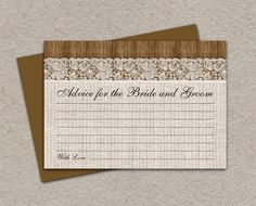 #Rustic #Wedding Advice Card With Burlap And Lace By iDesignStationery Via #Etsy - $4.95