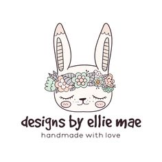Premade Logo - Floral Bunny Premade Logo Design - Customized with Your Business Name!