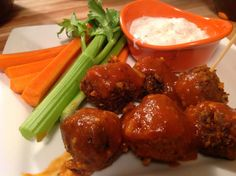<p>These little vegan tempeh meatballs are moist and flavorful and they're very easy to make. Then, they get tossed in a hot, spicy Buffalo tomato sauce. Yum!</p>