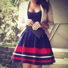 Navy Blue Dress & Nude Blazer. Would work for sailor girl chic, AND 4th of July