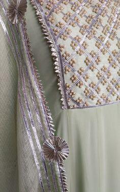 Best 11 Sewing Clothes Dresses Woman Shops 66 Ideas For 2019 Salwar Designs, Kurti Neck Designs, Kurta Designs Women, Blouse Designs, Embroidery On Kurtis, Kurti Embroidery Design, Embroidery Suits, Indian Embroidery Designs, Pearl Embroidery