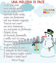 "Poesia ""Una melodia di pace"" di Maria Ruggi. #maestramary #poesiadinatale #natale #poesieperbambini Pace, Words, Decor, Winter Time, Decoration, Decorating, Horse, Deco"