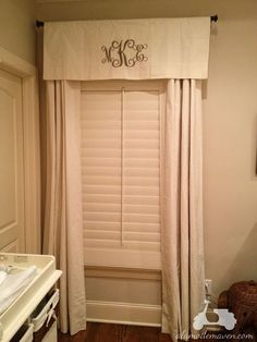 Baby room Monogrammed curtains. May need to do this to black out room a bit more.