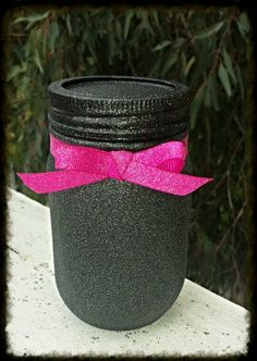 Black sparkly holder- For my make up brushes!!!!