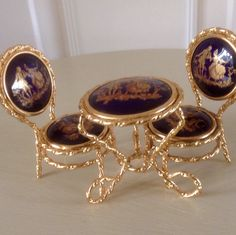 Limoges Porcelain Cobalt Blue Table and Chairs. Miniatures. Dolls House Furniture or Home Decor. Featuring the Classic two scenes the Proposal and Acceptance Vintage dated 1980's.  Take a look at our other Limoges pieces. Ship Worldwide. Combined Postage