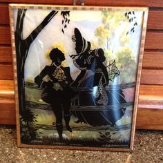 Vintage Silhouette Picture Man Woman On Fence Pastoral Rounded Glass Wall on eBay!