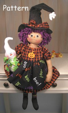 PDF E Pattern Primitive Raggedy Doll Witch Ghost Halloween This pattern is in an E-pattern format. You will receive a color print, full-sized pattern pieces and instructions to make this adorable Witch Halloween Sewing, Fall Sewing, Halloween Doll, Halloween Ghosts, Halloween Pumpkins, Halloween Crafts, Doll Clothes Patterns, Doll Patterns, Sewing Patterns