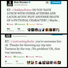 When I see tweets like these, I honestly think Steven Moffat and Rick Riordan would be friends. <--- I KNOW! What if they got together and made a series of books/movies/TV show? I mean, IMAGINE THE FEELS!!!