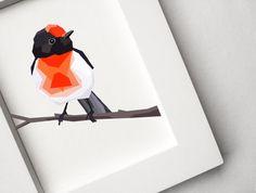 Red-capped Robin, Geometric animal print, Original art