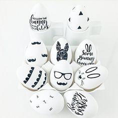 Osterei mit Motiv im 4er Set. Motiv frei wählbar. Minimalistisch, schwarz weiß, Skandi. Nachmachen oder einfach bestellen