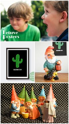 SIMPLE PRINTABLE CACTUS POSTER. 'Hands up!' Black, white and green WALL ART for Kids Room or Nursery by LetuvePosters.