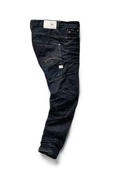 G Star Raw X Sergio Pizzorno limited edition Jean Raw Denim, Denim Jeans, Dark Jeans, Drop Crotch Jeans, Clothing Store Design, G Star Raw Jeans, Clothing Photography, Denim Fashion, Moda Masculina