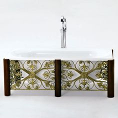 "71"" Sierra Rectangular Freestanding Acrylic Tub with Wrought Iron Base"