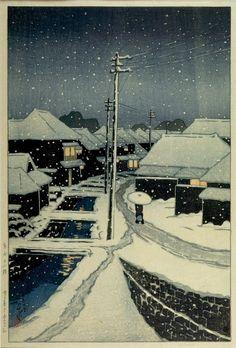Kawase Hasui Title:Terashima in Snow (Yuki ni kureru Terashima), from the series Twelve Views of Tokyo (Tokyo jûnidai), Taishô period, dated 1920 Date:Taishô period, 1912-1926