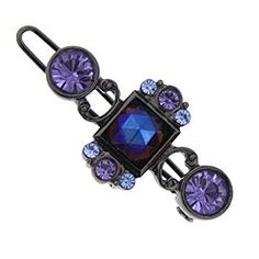 Black-Tone Amethyst Color and Light Sapphire Color Crystal Barrette Review
